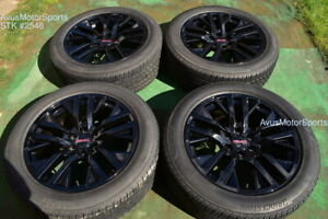 22 Gmc Sierra 1500 Oem Factory Black Wheels Tires Yukon Tahoe Silverado Chevy