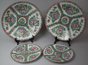 Four Chinese C19th Canton Famille Rose Chargers And Plates Hand Painted Signed