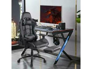 Office Gaming Chair Racing Pu Leather Executive Computer Desk Seat Swivel Gray