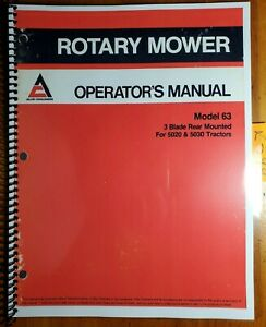 Allis chalmers 63 3 Blade Rear Mounted Rotary Mower For 5020 5030 Tractor Manual