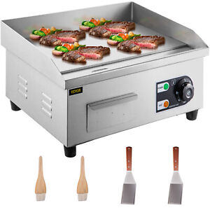 Commercial Electric Griddle Flat Top Grill 1 5kw 14 Hot Bbq Stainless Steel