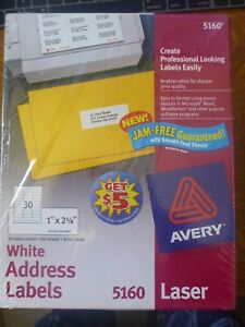 Avery 5160 Mailing Address Labels Laser 1 X 2 5 8 White 3000