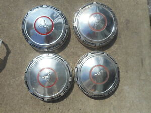 4 Mopar Dodge Red Circle Stripe Line Dog Dish Hubcaps Hub Caps Centers Poverty
