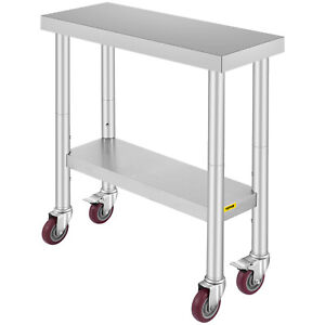Rolling Stainless Steel Top Kitchen Work Table Cart Casters Shelving 30 x12