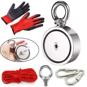 New Fishing Magnet Kit With Locking Carabiner And Rope 760lbs Combined 65ft