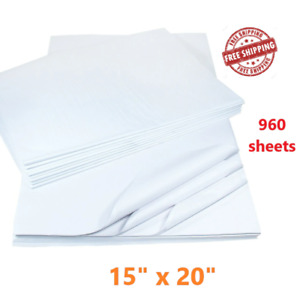 960 Pack 15 x20 White Tissue Paper Packing Wrapping Cushioning Void Fill