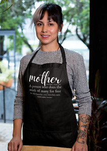 Mother Definition Kitchen Apron With Pocket Cooking Mothers Day Gift Funny Humor
