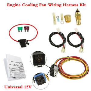 Car Dual Electric Cooling Fan Wiring Harness Thermostat Temp Switch Sensor Relay