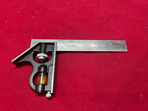 Vintage Empire 6 Machinist Square Combination Ruler With Level Gauge Usa