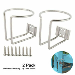 2pcs Stainless Steel Ring Cups Can Drink Holder For Car Boat Marine Yacht Truck