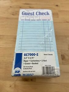 Guest Check Book Carbonless Duplicate 3 2 5 X 6 7 10 50 book 50