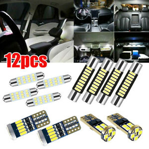 12x Car Interior Led Light Bulbs For Dome License Plate Lamp Kit Car Accessories
