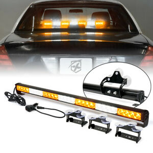 27 Led Strobe Light Bar Interior Dash Windshield Traffic Advisor White Amber