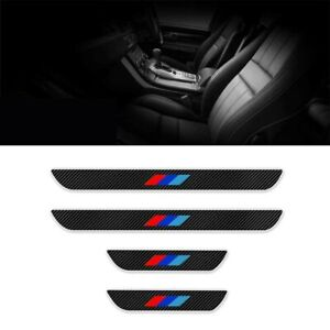 For Bmw Cars Door Sill Carbon Fiber Scuff Cover Entry Stickers Parts Black 4 Pcs