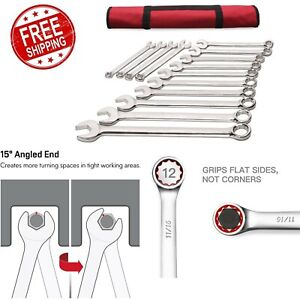 Wrench Set Chrome 14 Piece Premium Extra Long Large Size Metric Combination New