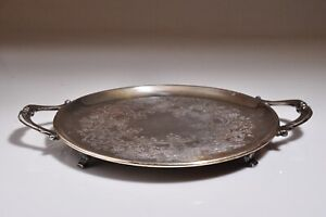 Vintage Silver Plated Small Serving Tray Round Platter Hallmarks