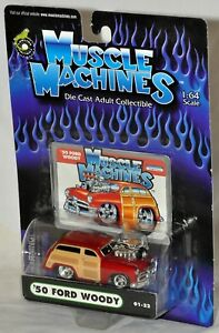 Muscle Machines 1950 50 Ford Woody Red Supercharged 01 22 Moc Vhtf 2000