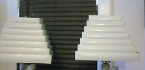 Pair Of Vintage Mcm 7 Tier Metal Venetian Blind Pyramid Lamp Shades White
