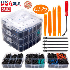 635pcs Car Body Plastic Auto Fasteners Push Trim Clips Pin Rivet Bumper Kit Us