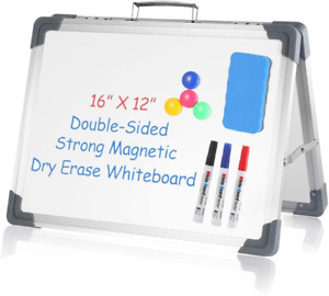 Small Dry Erase White Board 16 X 12 Double Sided Portable Foldable Magnetic Dr