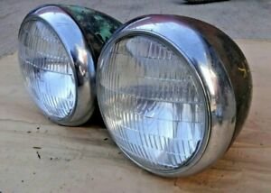 1939 1940 Chevy Truck Headlights Original Gm Pair Sealed Beam