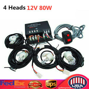 80w Hid 4 Lights Emergency Strobe Light Hideaway Car Rear Front Light White Usa
