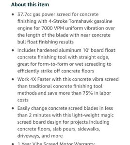 Tomahawk Power 37 7cc Power Gas Concrete Wet Screed Cement 10 Ft Board Powered