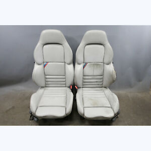 1995 1999 Bmw E36 M3 Coupe Front Vader Seat Pair Manual Heat Grey Leather Oem