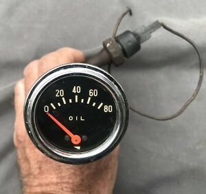 Vintage Mechanical Oil Pressure Gauge Brass Fittings Sensor