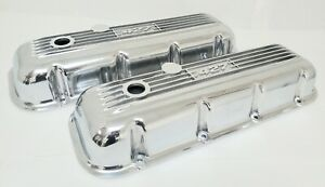 Nos Ansen Big Block Chevy 427 Valve Covers Finned Polished Cast Aluminum