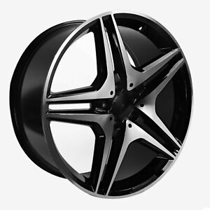 22 Inch Wheels Fits Mercedes Ml63 Gl63 Ml550 22x9 Rims 4pc Set Black Machined