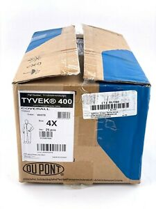 Box Of 25 Dupont Ty120swh4x Tyvek 400 Hooded Coveralls 4xl White New