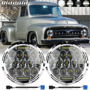 For Ford F 100 F 250 F 350 Pickup 1953 1977 Pair 7 Inch Led Projector Headlight