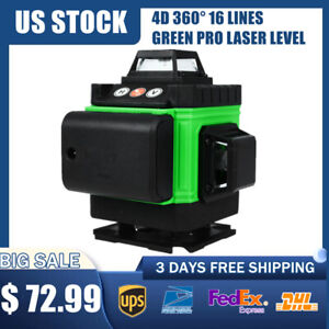 4d 360 16 Lines Green Pro Laser Level Auto Self Leveling Rotary Cross Measure