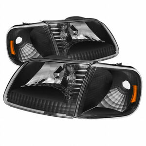 Xtune For Ford Expedition 1997 2002 Crystal Headlights W Corner Black
