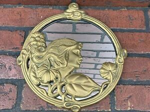 Vintage Art Deco Brass Beautiful Lady Face Flowers Leaves Mirror Picture Frame