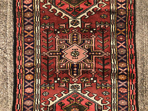 2x13 Vintage Runner Rug Wool Hand Knotted Antique Handmade Tribal Handwoven 3x13