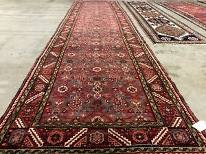 3x14 Vintage Runner Rug Wool Hand Knotted Antique Handmade Geometric Mint 4x14