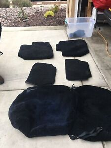 Mercedes Sl 107 Chassis Sheepskin Seat Covers Floor Mats Black