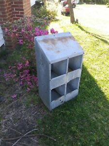 Vintage Chicken Hen Nest Box Rusty Industrial Galvanized Metal Barn Farm Fresh 4