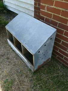 Vintage Chicken Hen Nest Box Rusty Industrial Galvanized Metal Barn Farm Fresh 3