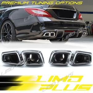 Chrome Exhaust Pipe Muffler Tips For Mercedes Benz Cls63 Amg Cls W218 11 17 Et89