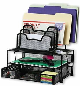 Simplehouseware Mesh Desk Organizer With Sliding Drawer Double Tray And Black
