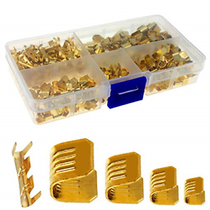 Keeyees 500 Pcs U Shape Copper Ring Terminals Crimp Kit Non insulated Cable