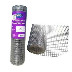 Mtb Ss304 Stainless Steel Welded Wire Mesh 24 Inches X 25 Feet 1inch X 1inch