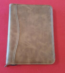Day timer Brown Leather Zipper 7 Ring Daily Planner Notebook Organizer 8 X 10 5
