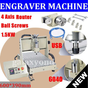 1 5kw Usb 4 Axis Cnc 6040 Router Engraver Engraving Machine Milling 3d Cutter Us