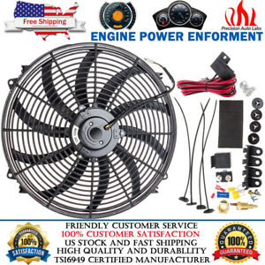 16 Inch Universal Electric Radiator Cooling Fan 12v 3000cfm Relay Thermostat Kit