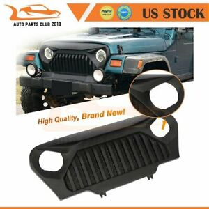 For 1997 2006 Jeep Wrangler Tj Front Gladiators Grille Grill W Mesh Black Abs