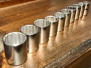 Vintage 10pc Craftsman Tools 1 2 Drive Sae Socket Set 12pt G Series Lot